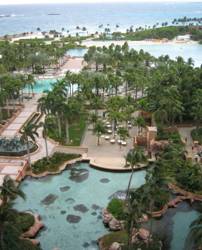 View of the Atlantis Resort's pools and aquariums