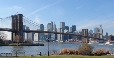 The Brooklyn Bridge with a view of the Manhattan Skyline (Photo purchased from istockphoto.com)