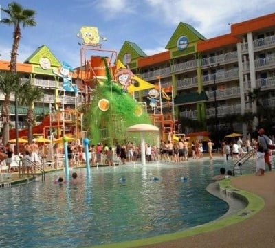 "The daily ""sliming"" at the Nickelodeon Hotel pool in Orlando, Florida"