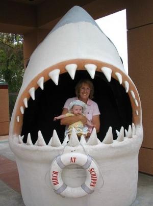 Birch Aquarium shark pose