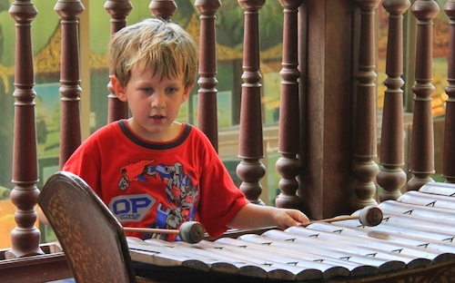 Music Lesson at Royal Palace in Phnom Penh, Cambodia