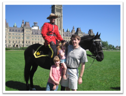 Mountie on Parliament Hill in Ottawa in the spring