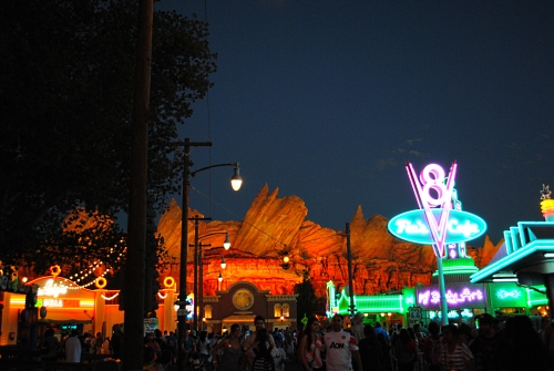 Cars Land at night with kids