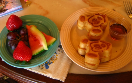 mickey mouse waffles and fruit