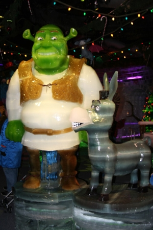 Shrek and Donkey ice sculptures at the Gaylord Palms DreamWorks Experience (Photo credit: Jennifer Close)