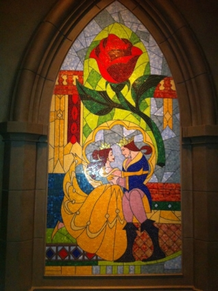 Beauty and the Beast mosaic in New Fantasyland