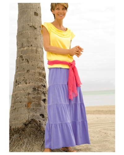Fresh Produce Convertible Travel Skirt/Dress Modeled by The Travel Mama at Castaway Cay