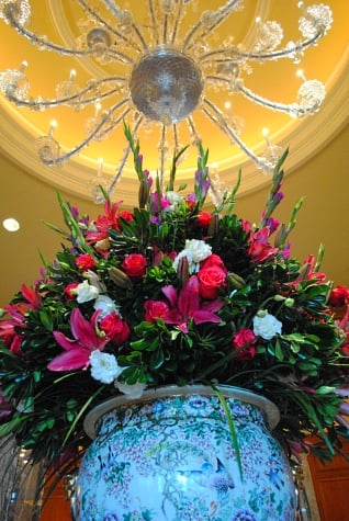 Flowers and chandalier at Grand Hotel, Salt Lake City, Utah