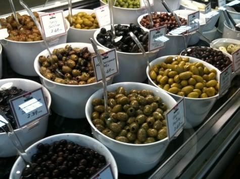 Olives from Zara's Italian Deli at Granville Island's Public Market