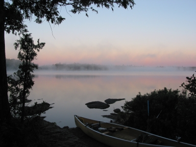 A misty morning in the Boundary Waters Canoe Area
