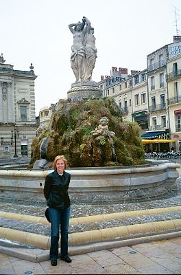 fountain, Les Trois Graces in Montpellier, France