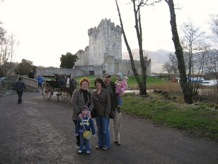 Here we are outside Ross Castle outside Killarney. Although you can get to the castle by car we hired a jaunting cart to take us from Killarney to the castle and back.