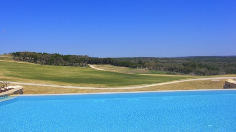 A view of one of the resort's two TPC PGA-Tour golf courses from the adult infinity hotel pool