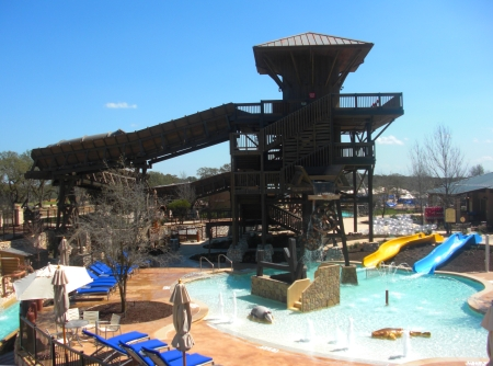 The kids' pool and splash area with the Water Tower in the background at JW Marriott San Antonio (Photo credit: Colleen Lanin)
