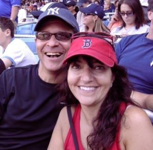 Meryl, a Red Sox fan, is pictured above with her husband, Jim, a Yankees fan (Photo credit: Meryl Pearlstein)