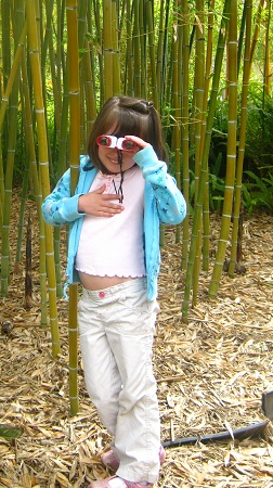 My daughter, Karissa, in front of some of the smaller stalks of bamboo