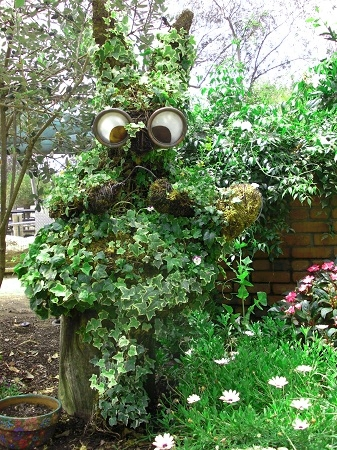 A bunny-shaped plant sculpture at the San Diego Botanic Garden