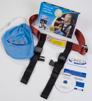The CARES restraint comes with easy to follow instructions, a carrying case, and an instructional DVD