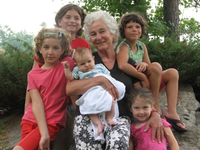 Louise Stoll, inventor of CARES, with five of her nine grandchildren