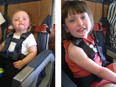 Children Wearing Their CARES Restraints Aboard A Flight