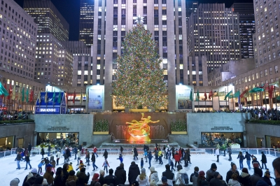 Rockefeller Center Ice Skating Rink and Christmas Tree (Photo Courtesy of Tishman Speyer-Photographer Bart Barlow)
