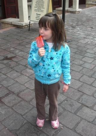 Strawberry Paleta in San Antonio, Texas with kids
