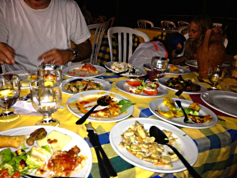 Just one course of our meal at the Santa Margherita agritourismo restaurant in the hills of Patti