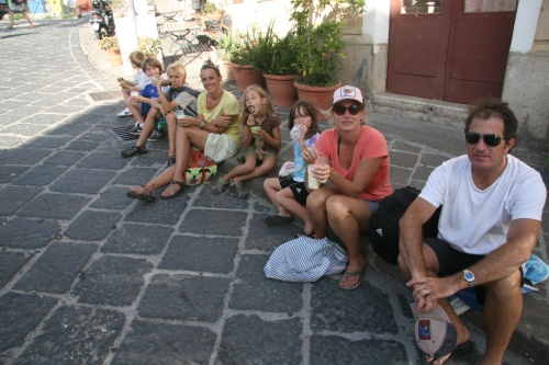 Our group enjoying a gelato break in Lipari