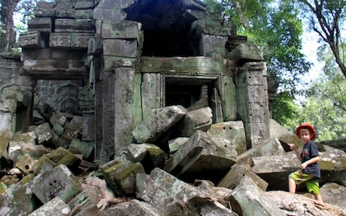 Ruins at Ta Phrom at Angkor Archaelogical Park in Cambodia