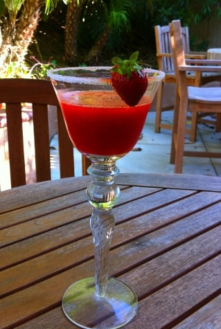 Strawberry daiquiri made from Carlsbad Strawberry Company berries