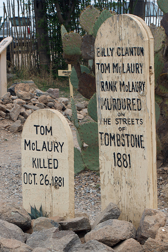 Gunfight gravestones Tombstone, Arizona ghost town ~ Halloween in Tombstone