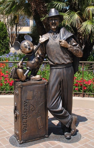 Walt Disney statue at Disney California Adventure