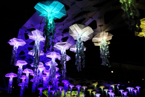 Paper Jellyswarm lights at the Vancouver Aquarium's Luminescence: A Celebration of Aquatic Light (Photo by Neil Fisher) - Christmas Fun
