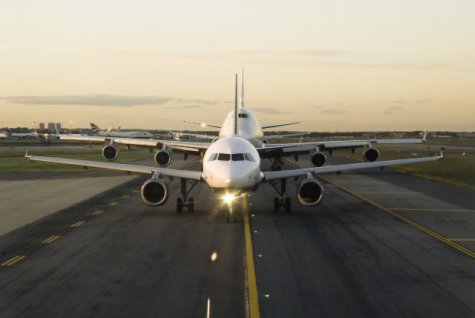 Airplanes ready for take-off