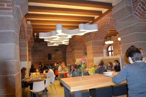 Dining area in Nuremberg hostel