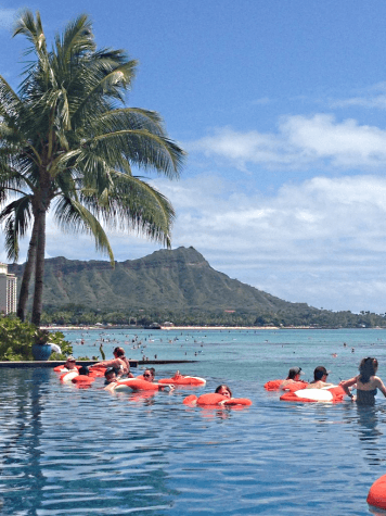 Sheraton Waikiki Hotel Infinity Pool with Waikiki Beach and Diamond Head in the background
