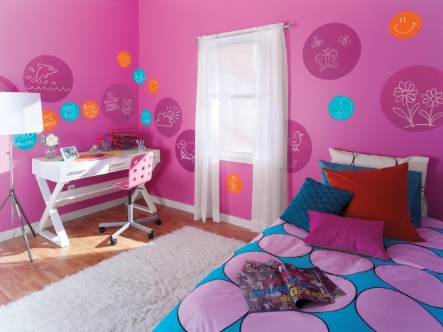 Tween or teen room decorated with Disney Paint's colorful chalkboard paint