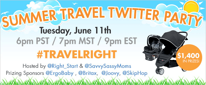 Right Start baby travel gear Twitter party