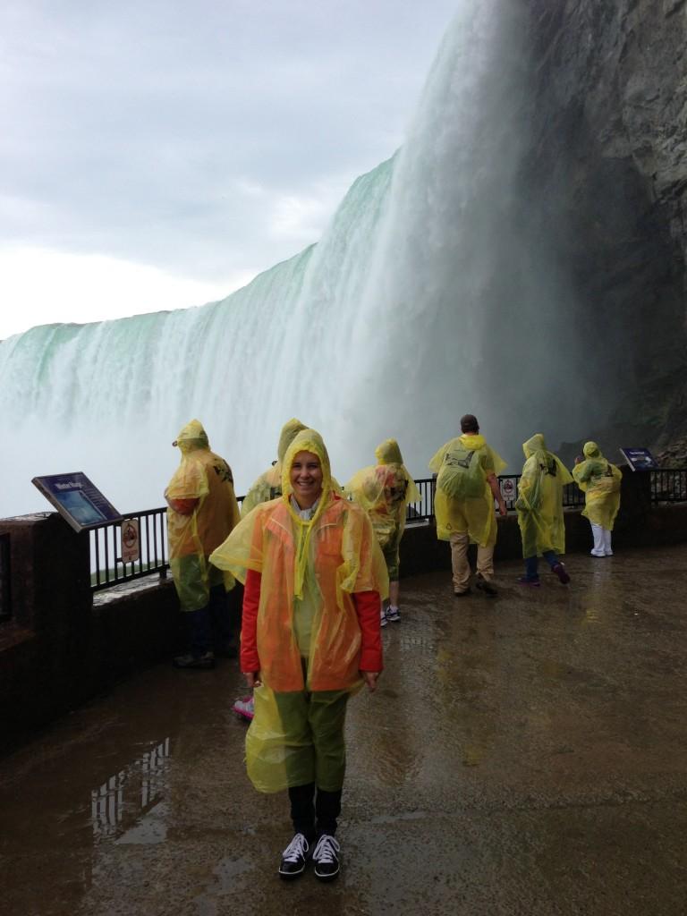 Journey Behind the Falls at Niagara Falls. Note the sleek yellow poncho.