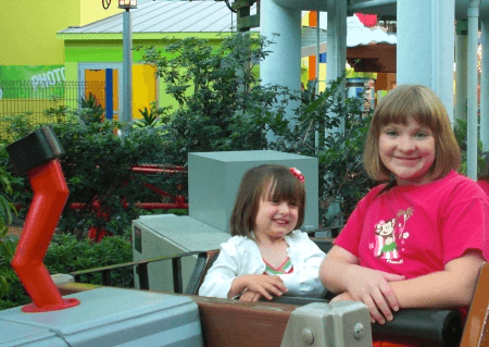 A child-friendly ride at the Mall of America's Nickelodeon Universe in Bloomington, Minnesota