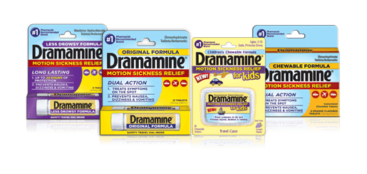 Dramamine comes in four formulas, including a new chewable grape-flavored tablet for kids ages 2-12