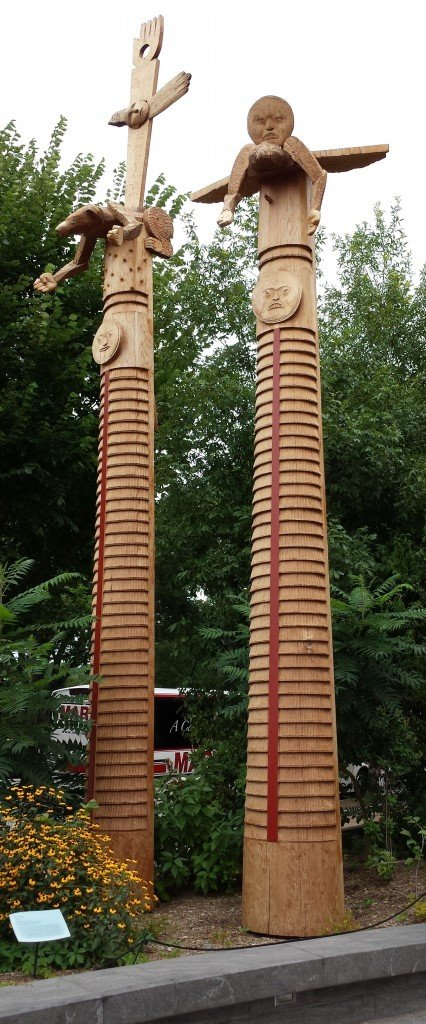Impressive totem poles outside the National Museum of the American Indian