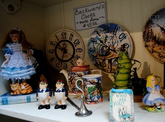 Alice in Wonderland treasures at the White Rabbit shop in Carmel-by-the-Sea
