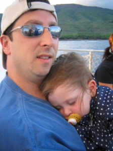 My daughter is not new to feeling sick on boats; here she is feeling nauseated due to motion sickness on a Catamaran cruise