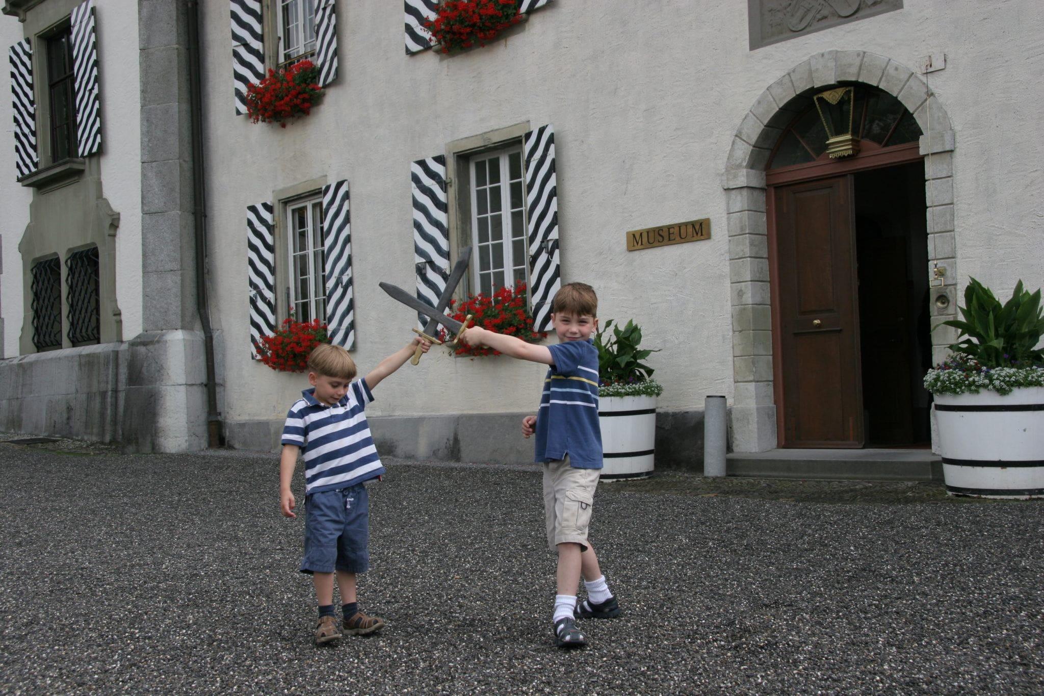 Kids' sword play in Thun, Switzerland