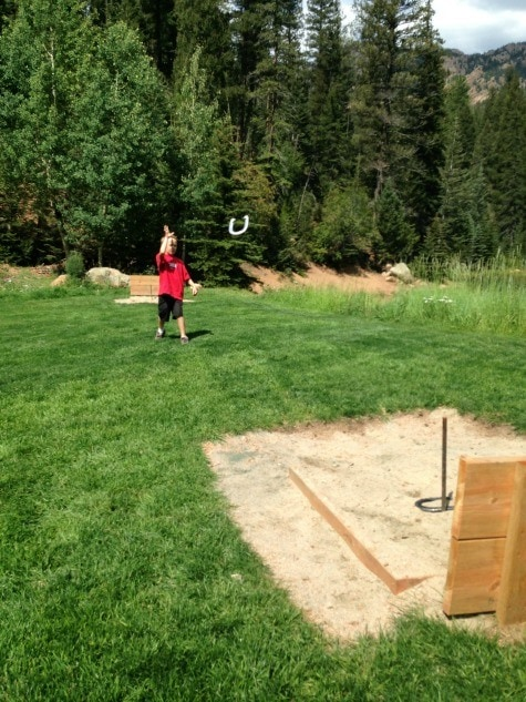 Playing horseshoes at The Broadmoor's Ranch at Emerald Valley