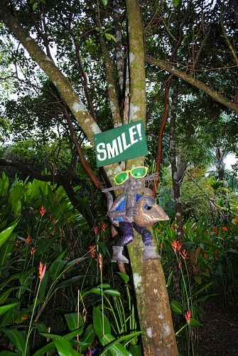 A friendly reminder to smile at the Garden of Eden botanical gardens along the Road to Hana