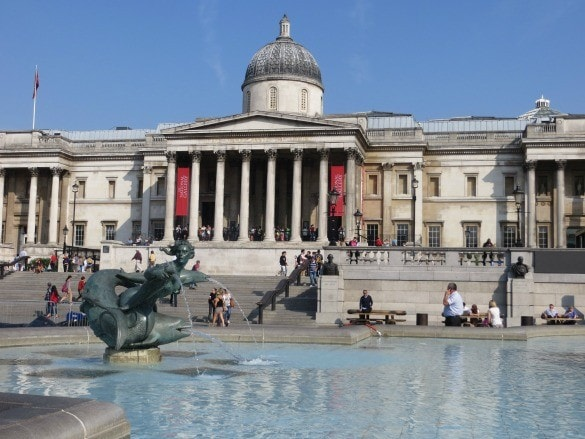 View of the National Gallery in London from Trafalgar Square
