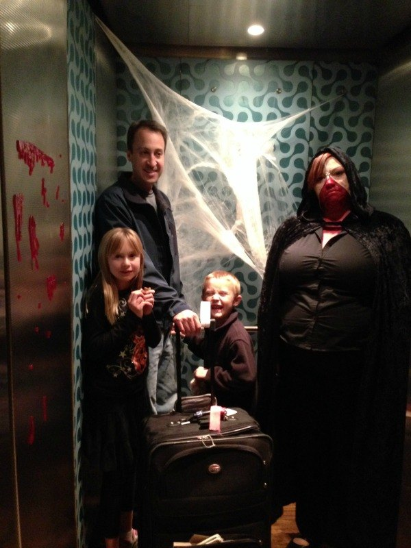 Eerie elevator operator at the Curtis Hotel's Nightmare on Curtis Street