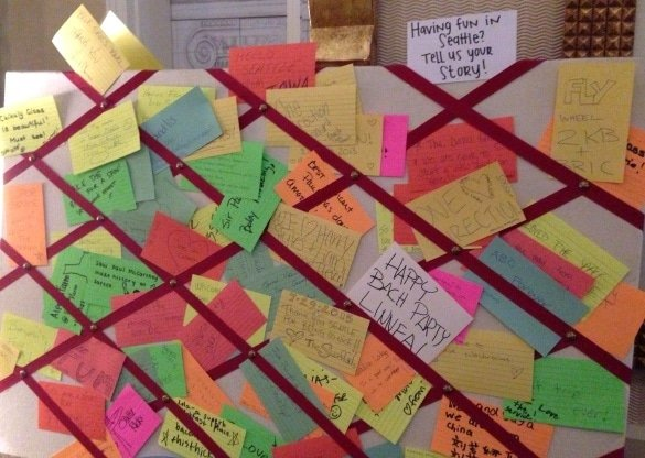 A message board filled with fun Seattle happenings at Hotel Monaco
